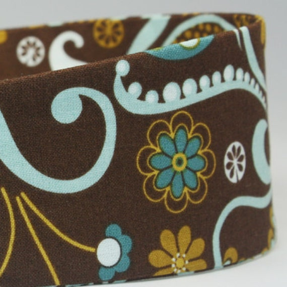 Women's Blue & Brown Retro Floral Print Fabric Headbands