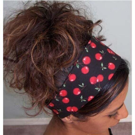 50s Rockabilly Cherries Print Wide Fabric Headband
