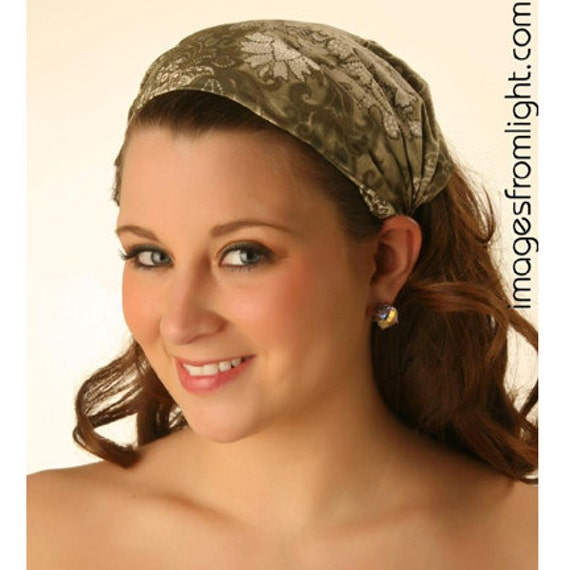 Extra Wide Sage Green Floral Print Bandana Head Scarf