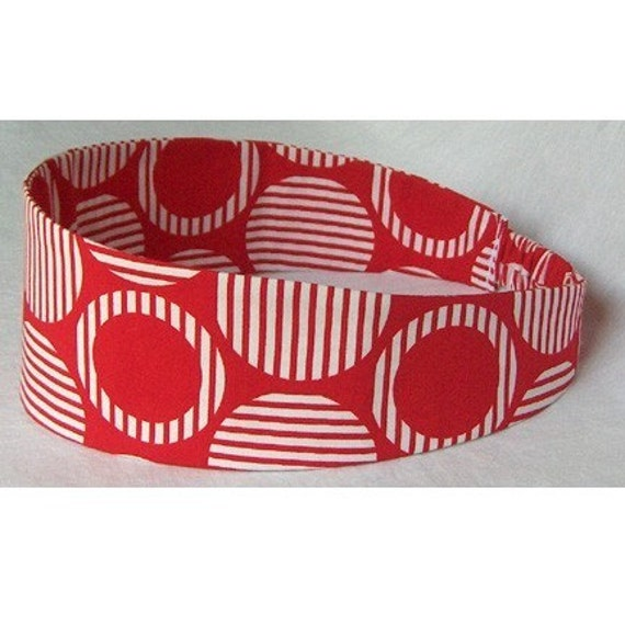 RED and White 60s MOD Circles Dots WIDE HEADBAND