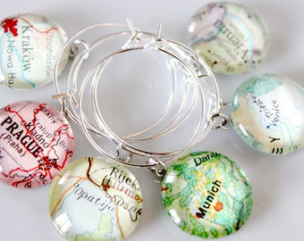 Custom Map Wine Charms (12) - Vintage, Travel, Map, Atlas, Glass