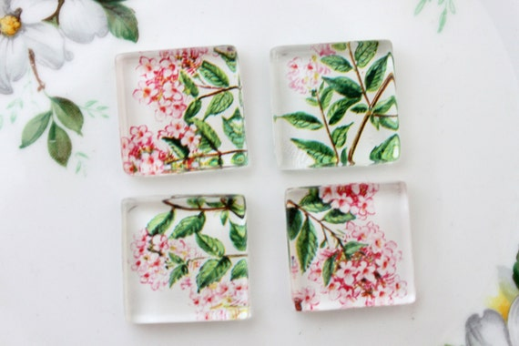 Tiny Pink Blooms Square Glass Tile Super Strong Magnets