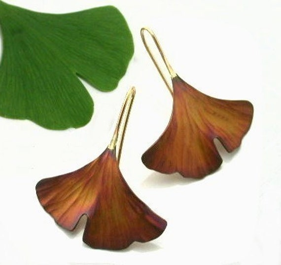 Ginkgo Earrings, copper, brown patina, large size, 101mc
