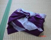 Japanese vintage FUROSHIKI, KIMONO fabric, wrapping cloth, wall hanging -- purple feathers