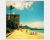 Honolulu Beach: fine art photograph print of Hawaii landscape with beach, hotel, ocean water, Diamondhead Crater, palm tree, sunbathers