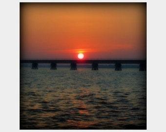 Sunset Photograph, Gulf of Mexico Print, Gulf Coast Wall Art, Sun Photograph, Railroad Bridge Art, Ocean Springs Photo, Orange Blue Photo