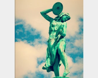 Cymbal Player Statue Photo, Depew Memorial Fountain, Turquoise Blue Wall Art, Indianapolis Photograph, Woman Musician Photo, Bold Wall Art