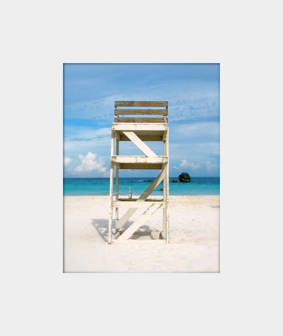 Off Duty: a peaceful fine art photograph print of a lifeguard chair with blue water and sky and white sand in Bermuda