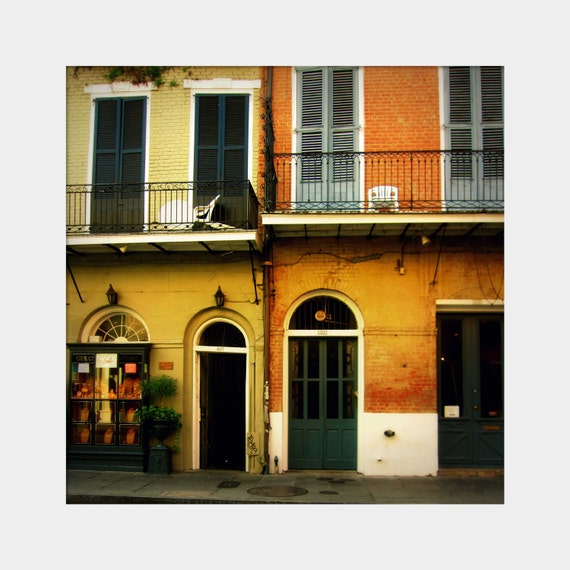 French Quarter Architecture Photo, New Orleans Photo, Doors and Windows, New Orleans Balcony, Dark Green Orange, City Sidewalk Art, Shutters