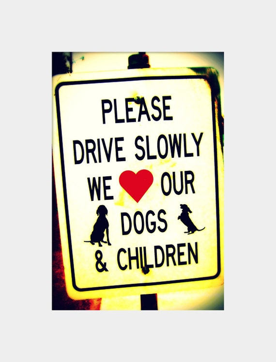 Funny Photo, Dog Lover Gift, Drive Slowly Sign, Black White Red Art, Humor Wall Decor, Dogs and Children Sign, Silly Wall Art, Street Sign