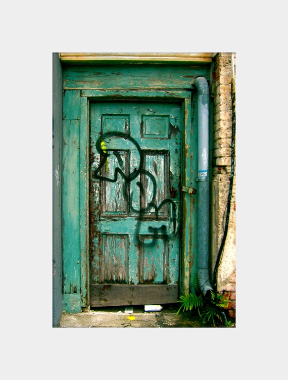 "Picture of Madness: fine art photograph print of turquoise door with ""POM"" graffiti (New Orleans architecture and urban decay)"