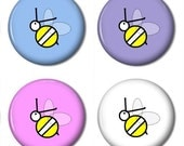 Set of 4 Bumble Bee Magnets - Mini Size but Super Strong