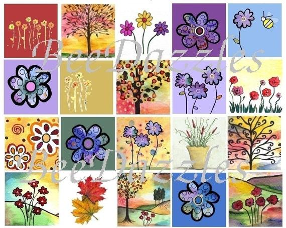 Set of 20 Garden Delight Mini Thank You Notes and Envelopes - Blank Inside