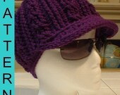 Instant Download: Crochet Pattern - Adult Cable Motif Beanie with Brim