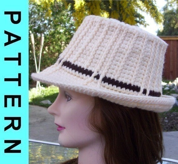 Instant Download: Crochet Pattern - Unisex Ribbed Fedora