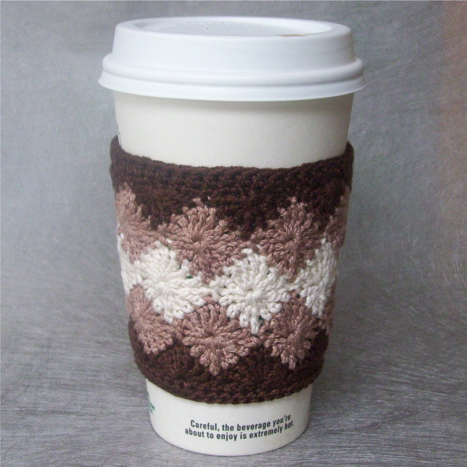 Crocheted Coffee Cozy in Brown and Tan Cotton FREE by CrochetDad