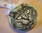 Custom Pet Portrait Ornament/Magnet - handpainted