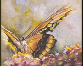 Butterfly original watercolor painting red orange spring flowers insect art 5x7