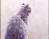 Original watercolor Cat painting on watercolor paper Cat in window 8x10