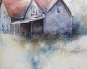 Old Farmhouse: original watercolor painting 8x10 landscape house