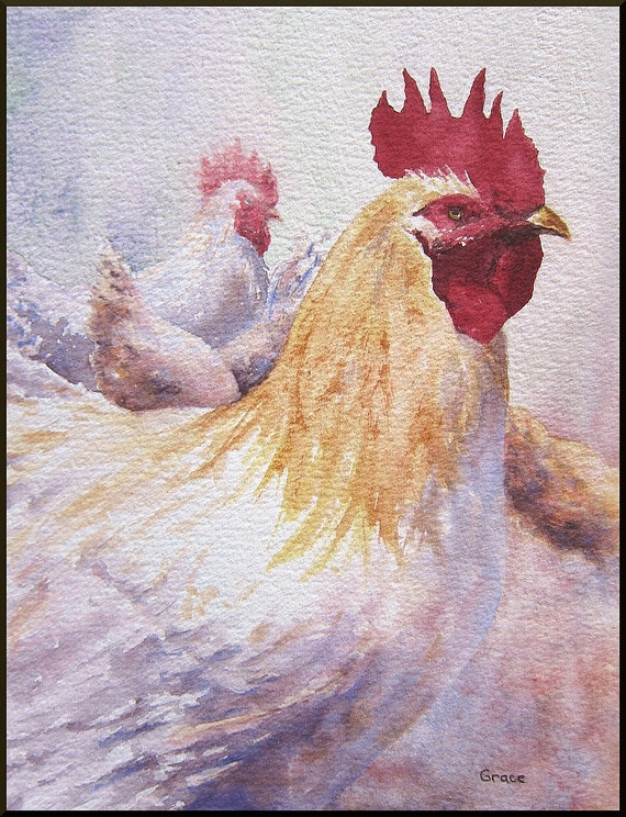 farm chickens Original Watercolor painting landscape ..The Boss  8x10