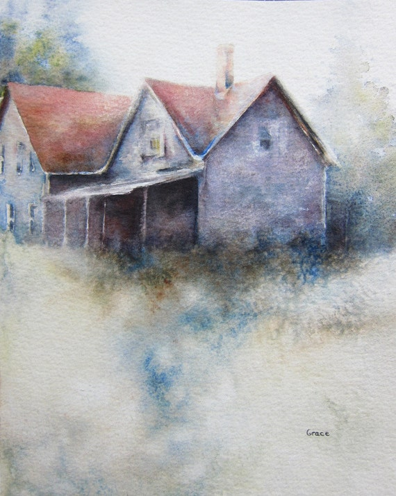 Old Farmhouse  original watercolor painting 8x10 landscape houseOld Farmhouse Painting