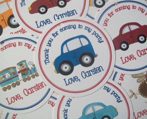 Transportation Party Favor Tags- Cars, Trucks, Trains andHelicopters
