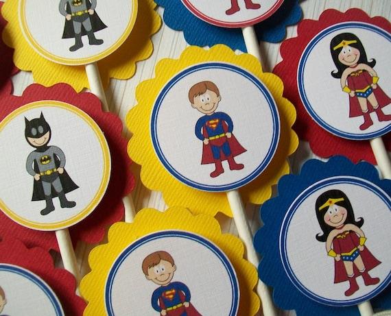 NEW- Superhero Cupcake Toppers