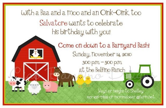 New- Farm Invitations- BOY or GIRL Designs- Coordinating Decor Available