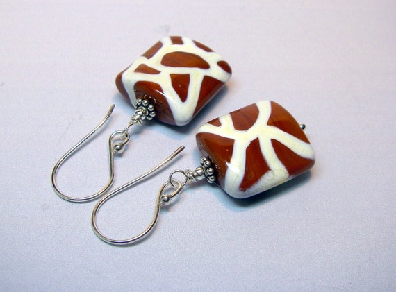 Chocolate Brown Giraffe Lampwork Bead Earrings