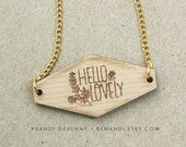 Wooden Painted Necklace - Hello Lovely in Gold