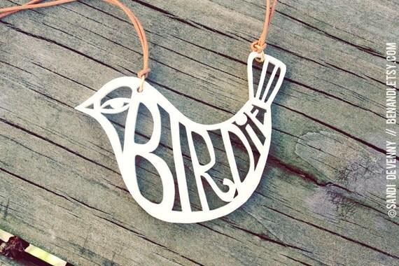 White Acrylic Birdie Necklace