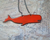 A Whale of a Good Time Orange Enamel  Pendant
