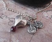 Sterling Silver Bike Charm and Heart with Garnet Necklace