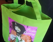 """TWO LEFT - Canvas Eco Tote and Knitting Bag """"Pirate Knitting"""" Magenta Purple or Carbon Black Washable Cotton Canvas"""