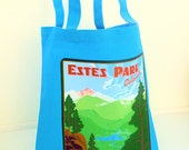 Canvas Eco Tote Bag - Vintage Travel Estes Park - Raspberry Pink, Spring Green or Turquoise Blue
