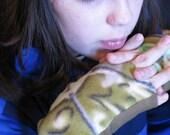 Green Leaf Fingerless Gloves