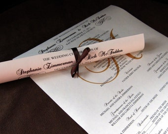 Scroll Wedding Programs DEPOSIT- Standard Production Timing