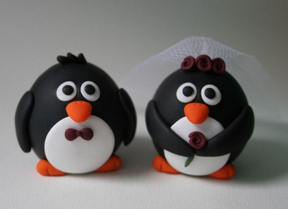 penguin cake toppers wedding custom penguin wedding cake topper by fliepsiebieps 6441