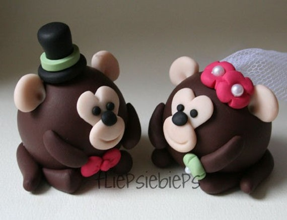 Custom Round Monkey Wedding Cake Topper