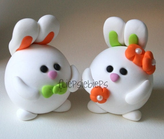 Custom Round Bunny Wedding Cake Topper