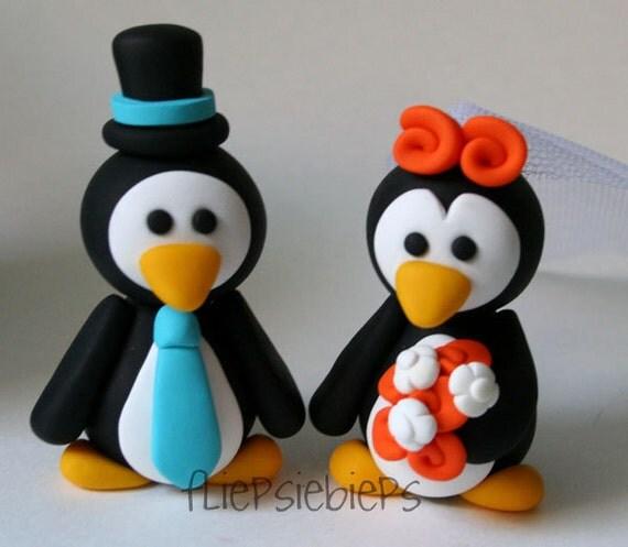 Custom Penguin Love Wedding Cake Topper