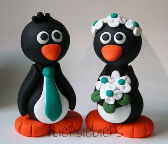 XL Penguin Wedding Cake Topper  4 inches