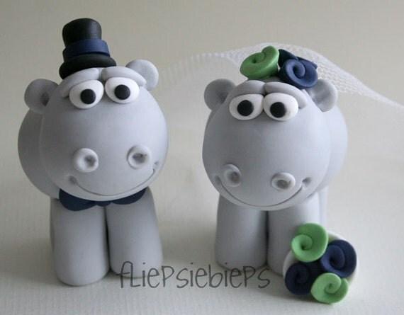 Custom Hippo Wedding Cake Topper
