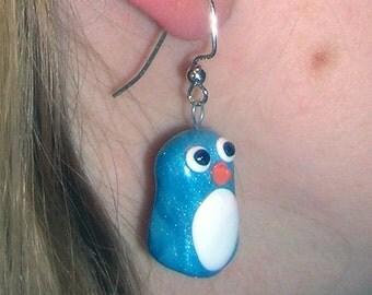 Tiny Shimmering Blue Penguin Earrings