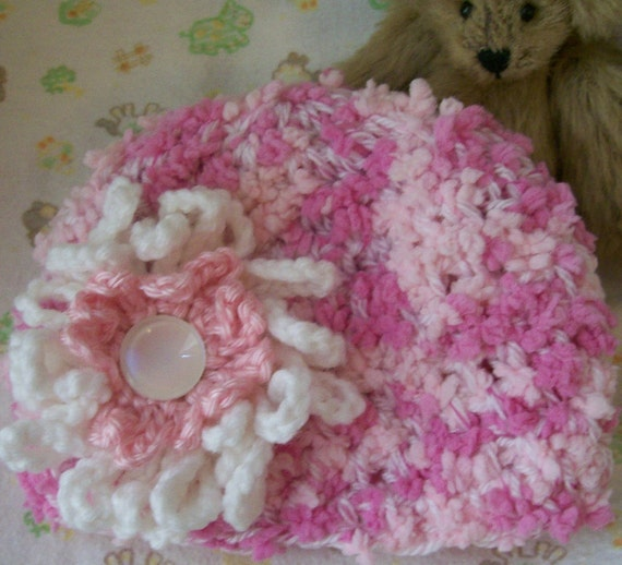 SALE PRICE Super Texture, Multi-pink Beanie Cap with Large Loopy Flower for your Newborn
