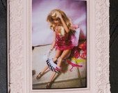 Barbie in the Bathroom having Problems - Pink Frame 4x6 Photo Print