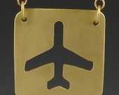 Airplane Necklace - Brass - SALE