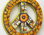 Skies of Marmalade Retro Hippie Peace Sign Flower Power China Mosaic Wall Hanging