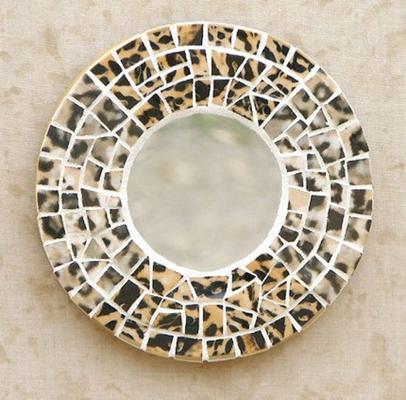 Serengeti Leopard Mosaic Mirror Animal Print Home Decor